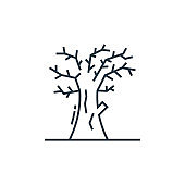 dead tree vector icon. dead tree editable stroke. dead tree linear symbol for use on web and mobile apps, logo, print media. Thin line illustration. Vector isolated outline drawing.