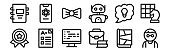 set of 12 thin outline icons such as nerd, briefcase, exam, idea, bow tie, molecule for web, mobile
