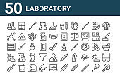set of 50 laboratory icons. outline thin line icons such as virus, forceps, dna, ekg monitor, molecule, calculator, laboratory, test tubes, laboratory, test tube