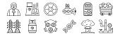 set of 12 thin outline icons such as pipe, dna, gas fuel, dosimeter, radioactive, nuclear plant for web, mobile