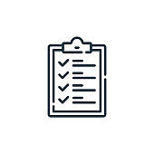 list vector icon isolated on white background. Outline, thin line list icon for website design and mobile, app development. Thin line list outline icon vector illustration.