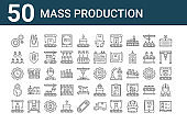 set of 50 mass production icons. outline thin line icons such as shipping, bottle, world, productivity, workers, product, package, delivery box, worker, package