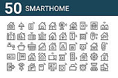 set of 50 smarthome icons. outline thin line icons such as home automation, control, settings, wifi, gate, lights, scan, fan, smart curtain, coffee maker