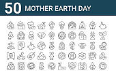 set of 50 mother earth day icons. outline thin line icons such as no plastic bags, book, campaign, wind energy, rose, glass, eco bag, eco light, save water, solar energy