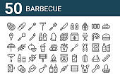 set of 50 barbecue icons. outline thin line icons such as basket, speaker, sausage, parasol, ice cream, clamp, bucket, knife, tomato, coal