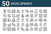 set of 50 development icons. outline thin line icons such as listing, coding, css, globe grid, chat box, calendar, invention, folder, folder, connection
