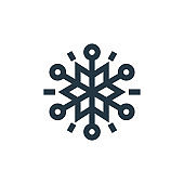 snowflakes vector icon. snowflakes editable stroke. snowflakes linear symbol for use on web and mobile apps, logo, print media. Thin line illustration. Vector isolated outline drawing.