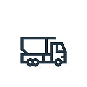 truck vector icon isolated on white background. Outline, thin line truck icon for website design and mobile, app development. Thin line truck outline icon vector illustration.