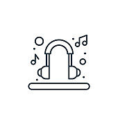 headset vector icon. headset editable stroke. headset linear symbol for use on web and mobile apps, logo, print media. Thin line illustration. Vector isolated outline drawing.