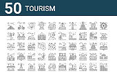 set of 50 tourism icons. outline thin line icons such as coliseum, bridge, mansion, aeroplane, hot air balloon, cycle, luggage