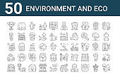 set of 50 environment and eco icons. outline thin line icons such as bio energy, farm house, leaf, solar panel, eco house, tree, dolphin
