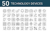set of 50 technology devices icons. outline thin line icons such as usb charger, usb, ram, usb, cctv camera, music player, vinyl