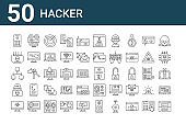 set of 50 hacker icons. outline thin line icons such as hacker, virus, hacker, modem, programming, data theft