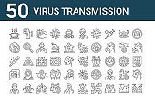 set of 50 virus transmission icons. outline thin line icons such as alcohol gel, infected, talking, thermometer, global, temperature sensor, bat