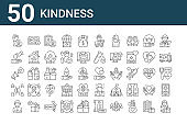set of 50 kindness icons. outline thin line icons such as donors, praying, crowdfunding, megaphone, generous, payment, heart