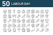 set of 50 labour day icons. outline thin line icons such as wrench, welder, policewoman, chef, doctor, worker, factory