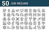 set of 50 job resume icons. outline thin line icons such as computer, time management, seminar, company, medal, speech, manual