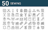 set of 50 sewing icons. outline thin line icons such as thread, leather, pincushion, jacket, pins, scissors, scissors