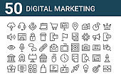 set of 50 digital marketing icons. outline thin line icons such as landscape, briefcase, bank, view, sound, , graphic tablet, presentation, conversation, clock