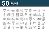 set of 50 fame icons. outline thin line icons such as clapperboard, man, money, video chat, sculpture, sunglasses, letter