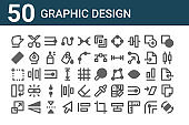 set of 50 graphic design icons. outline thin line icons such as rotate, resize, rotate, artboard, ruler, cut, search, graphic tool, node, eyedropper