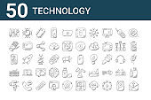 set of 50 technology icons. outline thin line icons such as communications, caliper, keyboard, woofer, robotic hand, processor, battery