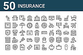 set of 50 insurance icons. outline thin line icons such as home, insurance, real state, plane, safe box, hospital, coffin
