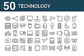 set of 50 technology icons. outline thin line icons such as web cam, headphones, play, joystick, calculator, share, calculator