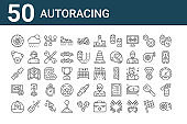 set of 50 autoracing icons. outline thin line icons such as tire, cap, game, seat belt, conveyor belt, rain, finish
