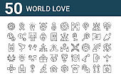 set of 50 world love icons. outline thin line icons such as mother earth day, medical, laurel, plastic bag, peace, ribbon, world