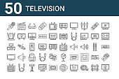 set of 50 television icons. outline thin line icons such as information, broken, curved, tv set, indoor antenna, clapperboard, tv show, screen ratio, smartphone, satellite dish
