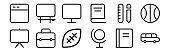 set of 12 thin outline icons such as school bus, globe, briefcase, draw, display, blackboard for web, mobile