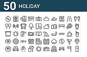 set of 50 holiday icons. outline thin line icons such as refrigerator, eat, wifi, towel, balloon, passport, tent