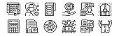 set of 12 thin outline icons such as casual, disturbance, terms and conditions, meeting, to do list, transmission for web, mobile