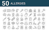 set of 50 allergies icons. outline thin line icons such as chocolate, strawberry, cramps, eye dropper, eye, cheese, cyanosis