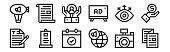 12 set of linear advertisement icons. thin outline icons such as brochure, global marketing, advertisement, view, customer care, letter for web, mobile.