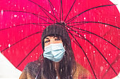Cheerful pretty girl with face mask protection  holding umbrella while strolling outside in the city  under the rain -  Concept about woman walk on the street in coronavirus time - New normal lifestyle
