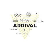 New Arrival geometric banner. Trendy mempis pattern shape.