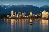 Vancouver Mountains and West End Dusk