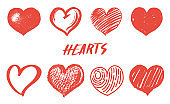Social media vintage heart like. Comment icons set. Follower or Notification elements for network. Hand drawn engraved monochrome love sketch. Vector illustration