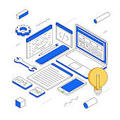 Web Design And Development modern isometric line illustration concept