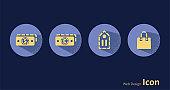 US dollar, euro, commodity sign, shopping bag, icon set.