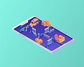 Delivery route in smartphone isometric concept. Mobile navigation logistics order routes using smart application.