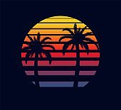 Retro sunset red purple. Two palm trees against background of an abstract setting sun in strip electronic synthwave.
