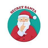 Secret Santa Chris Kindle. Merry Christmas anonymous gift exchange ceremony mysterious Santa.