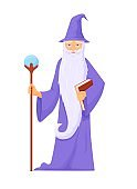 Archmage with ancient staff. Wizard connoisseur ice magic long gray beard blue robe with staff.