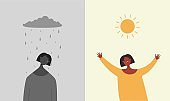 Sun is happy rain sad illustration. Character is sad when it rains and depressive weather rejoices when sun shines.