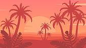 Tropical palm trees near sea or ocean.