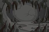 Cartoon horror cave tunnel landscape vector graphic illustration