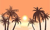 Sunset in cloudy haze silhouettes of palm trees. Tropical beach in orange fog background setting sun.
